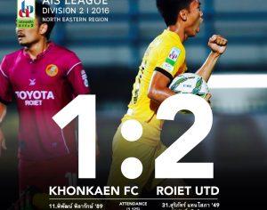 Match Review : AISLD2 นัด 8 ขอนแก่น เอฟซี 2:1 ร้อยเอ็ด ยูไนเต็ด